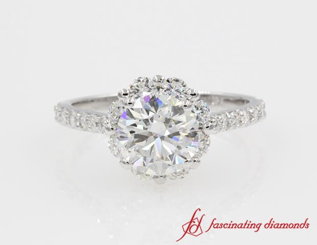 Floral Halo Diamond Engagement Ring White Gold