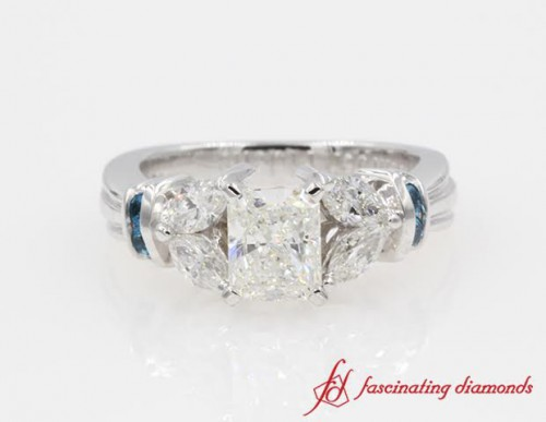 Petal Style Radiant Diamond With Topaz Engagement Ring in 14K White Gold