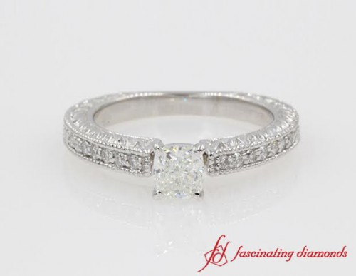 Antique Engraved Cushion Diamond Engagement Ring in 14K White Gold