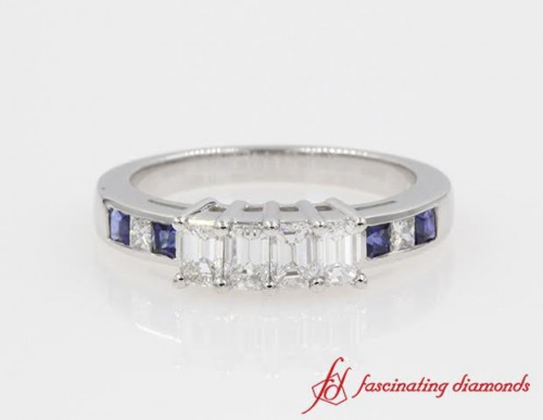 4 Emerald Cut Diamond With Sapphire Accent Band in 14K White Gold