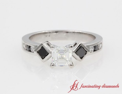 Kite Set Asscher Cut Diamond Engagement Ring in 14K White Gold
