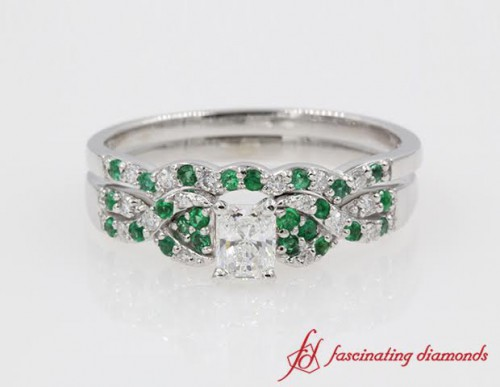Interlocked Radiant Diamond With Emerald Wedding Set in 14K White Gold