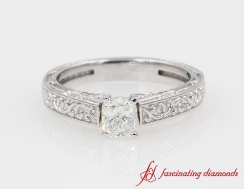 Gold Filigree Cushion Cut Single Diamond Ring