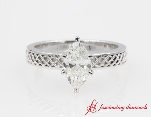 Carved Infinity Solitaire Ring