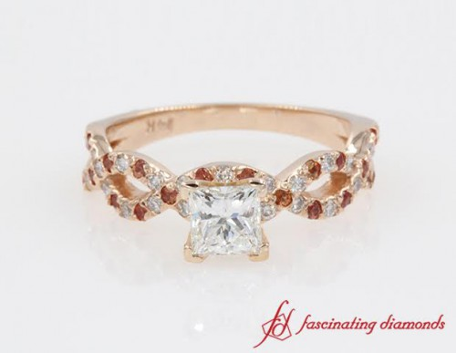 Infinity Princess Cut Diamond Engagement Ring in 14K Rose Gold