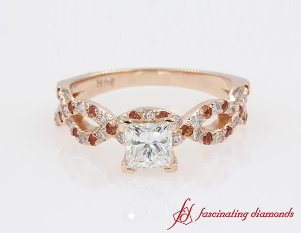 Princess Cut Infinity Style Rose Gold Diamond Ring With Sapphire