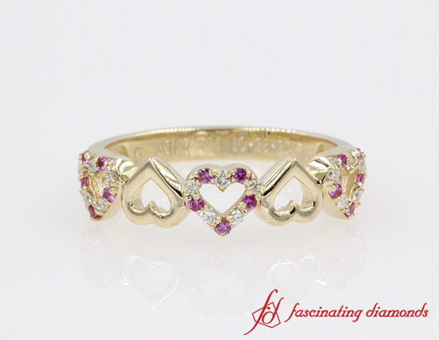 Gold And Sapphire With Diamond Heart Band For Women in 14K Yellow Gold