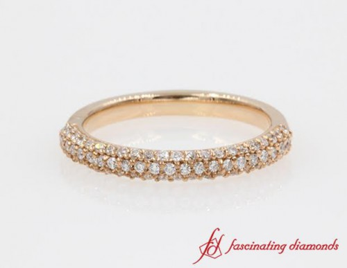 Three Row Pave Diamond Gold Wedding Band