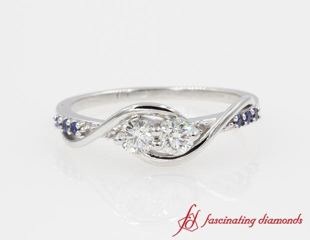 Twist 2 Stone Accent Diamond Ring