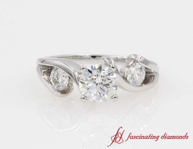 Three Diamond Round tension Engagement Ring in 14K White Gold