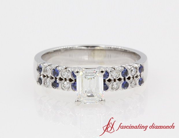 2 Row Emerald Cut Diamond And Sapphire Wide Engagement Ring in 14K White Gold