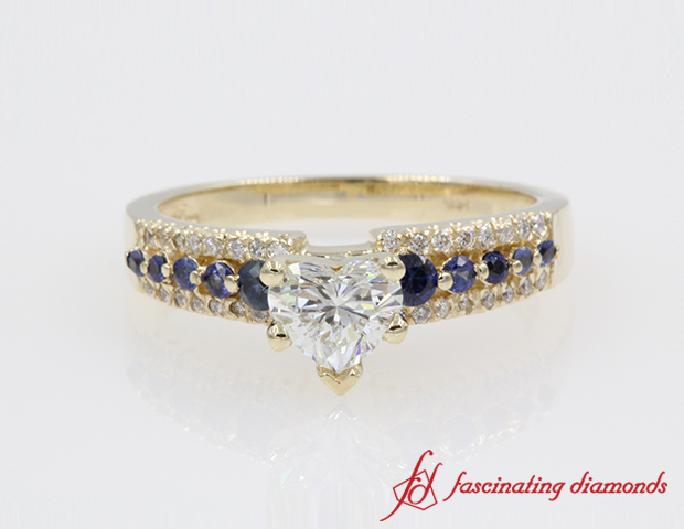 Heart Diamond 3 row wide Engagement Ring in 14K Yellow Gold