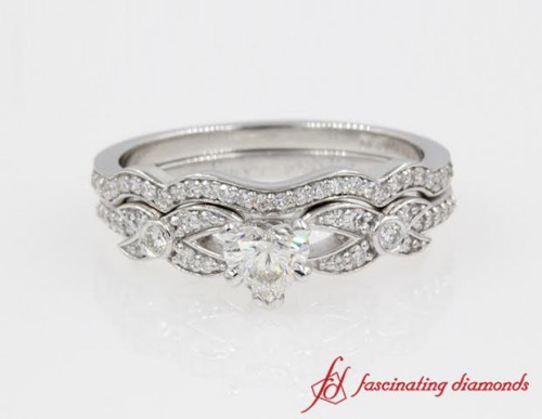 Antique Looking Pave Heart Diamond wedding Set in 14K White Gold