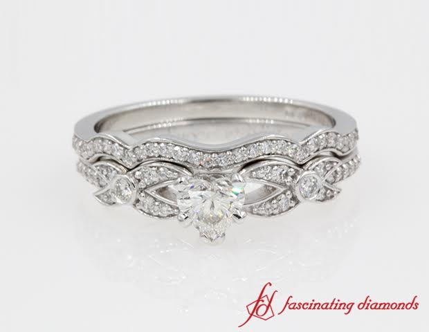 Pave Antique Looking Wedding Set White Gold