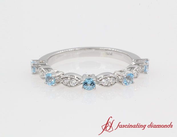 Milgrain diamond with Blue Topaz band for women in 14K White Gold