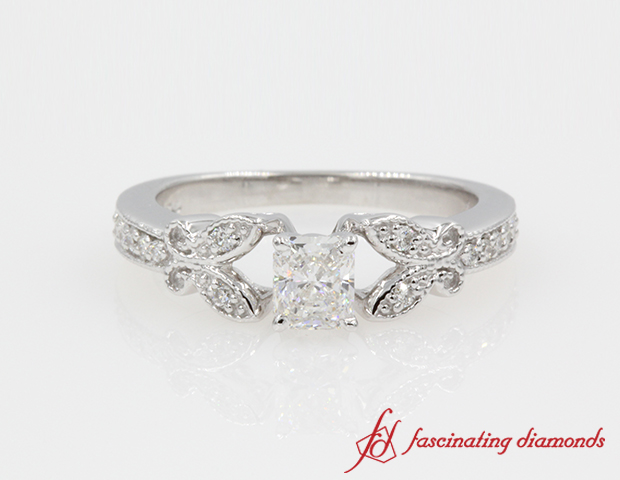 Butterfly Radiant Cut Diamond Engagement Ring in 14K White Gold