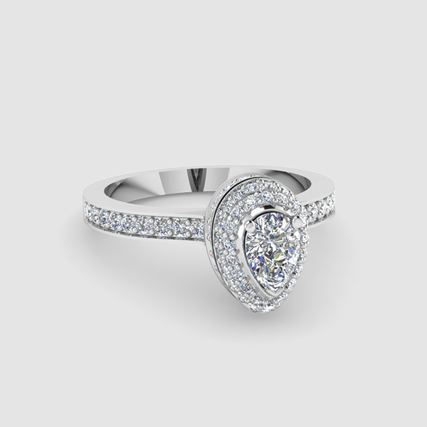 Halo Pear Shaped Diamond Rings