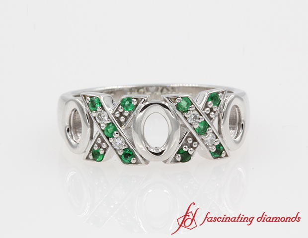 O X Design Diamond With Emerald Wedding Band in 14k Rose Gold