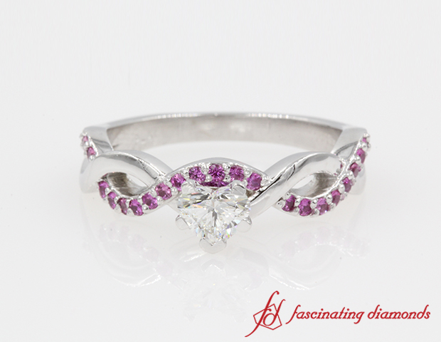 Infinity Heart Diamond With Pink Sapphire Ring in 14K White Gold