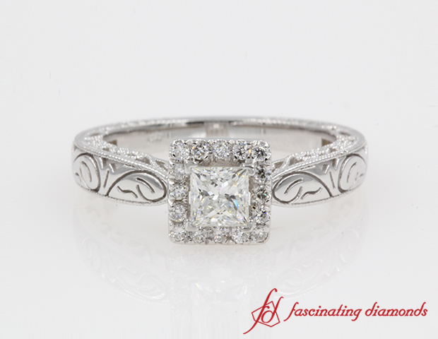 Vintage Halo Engraved Princess Cut Engagement Ring in 14K White Gold