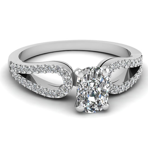 0.75 Carat Cushion Cut Diamond Engagement Ring