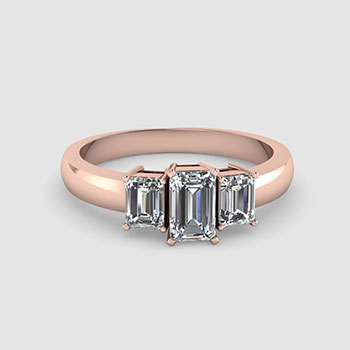 Three Stone Emerald Cut diamond Rings