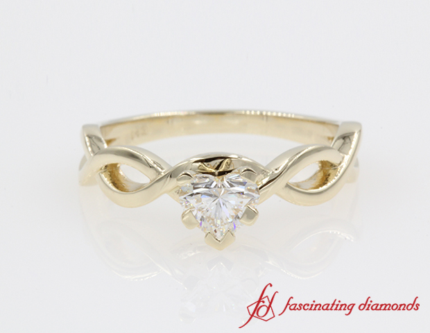 Braided Heart Diamond Engagement Ring in 14K Yellow Gold