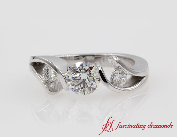 Tension Set Round Cut Diamond Engagement Ring in 14K White Gold