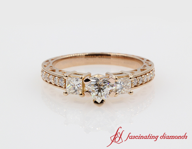 Vintage Style Heart Diamond Engagement Ring in 14K Rose Gold