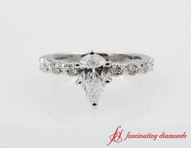 Antique Braided Pear Diamond Engagement Ring in 14K White Gold
