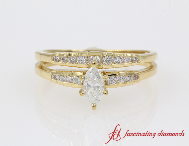 Marquise Diamond Delicate Wedding Ring Set in 14K Yellow Gold
