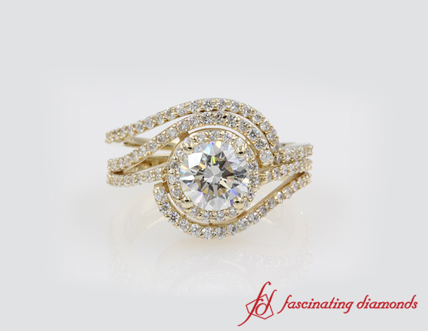 Double Halo Swirl Round Diamond Wedding Ring Set in 14K Yellow Gold
