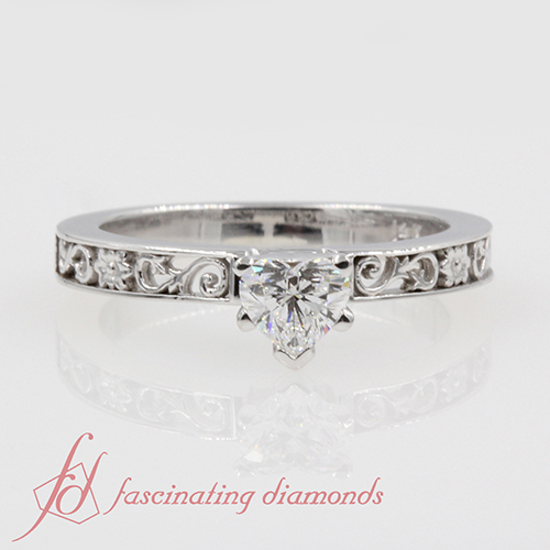 Antique Solitaire Heart Diamond Engagement Ring in 14K White Gold