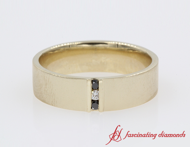 3 Stone Diamond Anniversary Band For Men in 14K Yellow Gold