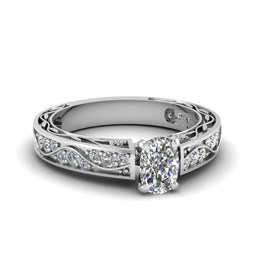 0.75 Ct. Cushion Cut Diamond Ring For Women