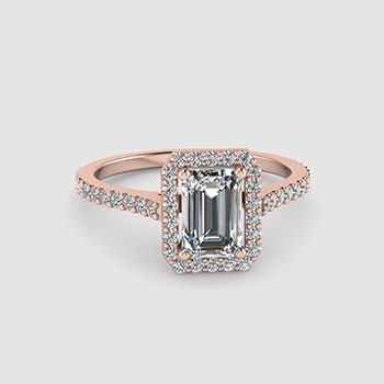 Halo Emerald Cut Diamond Rings