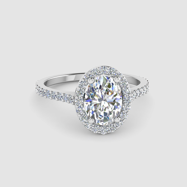 Halo Oval Shaped Diamond Rings