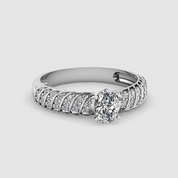 Oval Cut Side Stone Diamond Rings