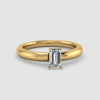 Emerald Cut Solitaire Diamond Rings