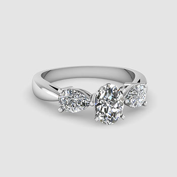 Three Stone Oval Cut Diamond Rings