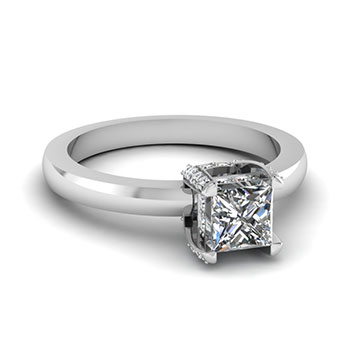 Half Carat Princess Cut Diamond Engagement Ring