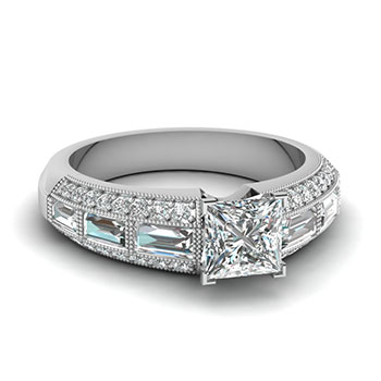 1 Carat Princess Cut Diamond Engagement Ring For Her