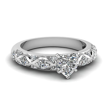Half Carat Heart Shaped Diamond Engagement Ring