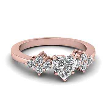 1/2 Ct. Heart Shaped Diamond Rings For Her