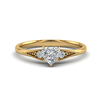 Half Carat Heart Diamond Ring For Women
