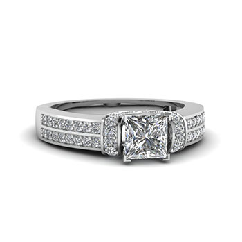 3/4 Carat Princess Cut Diamond Engagement Ring
