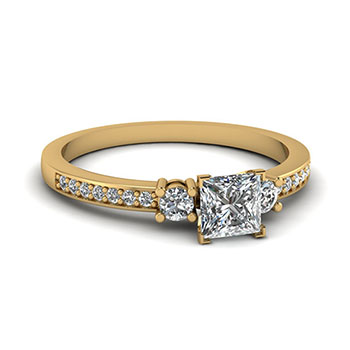 Half Carat Princess Cut Women Diamond Ring