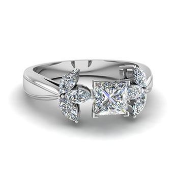 1 Carat Princess Cut Diamond Engagement Ring