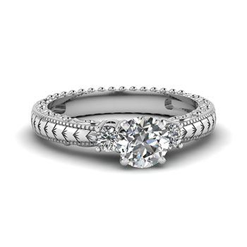 0.50 CTW. Round Diamond Engagement Ring For Women