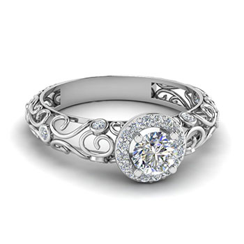 0.50 Ct. Round Cut Diamond Engagement Ring